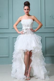 Vestido de novia Sin tirantes Manzana Asimétrico Dobladillo Cintura Baja