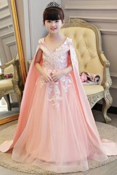 Vestido niña ceremonia Capa de encaje Falta Satén Moderno Encaje Natural