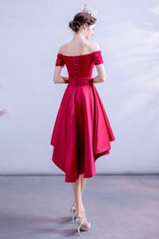 Vestido de fiesta Elegante Escote con Hombros caídos primavera Apliques