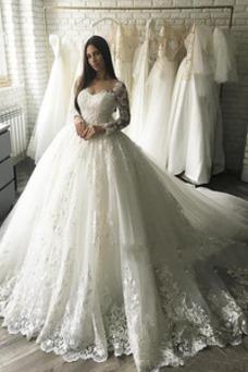 Vestido de novia Manga larga Natural Falta Cremallera Encaje Mangas Illusion