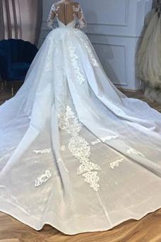 Vestido de novia Corte Sirena Barco Natural Pura espalda Formal Camiseta
