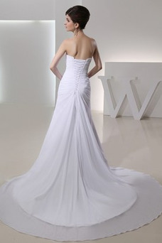 Vestido de novia Rosetón Acentuado Natural Flores Verano Gasa largo