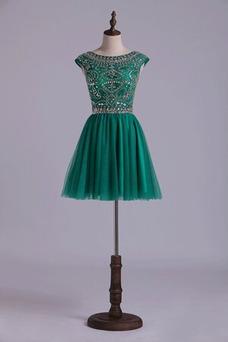 Vestido de cóctel Corto Falta Corte-A Natural Escote redondo Glamouroso