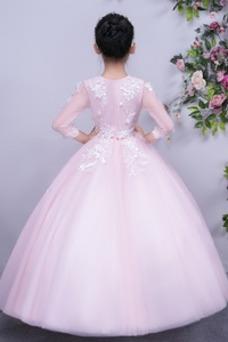 Vestido niña ceremonia Formal Hasta el Tobillo Joya tul Apliques Corte-A