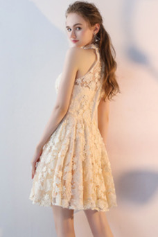 Vestido de cóctel Corto Escote con cuello Alto Corte-A Sin mangas Natural