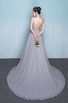 Vestido de dama de honor Encaje Natural Corte-A Falta primavera Elegante