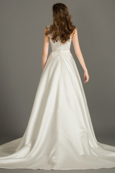 Vestido de novia Natural Capa de encaje Barco Encaje largo Sin mangas