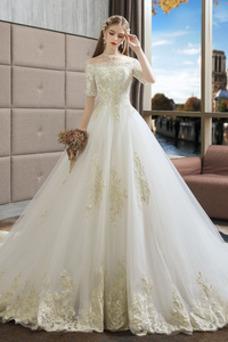 Vestido de novia Capa de encaje Corte-A Cordón Manga corta Natural Cola Catedral