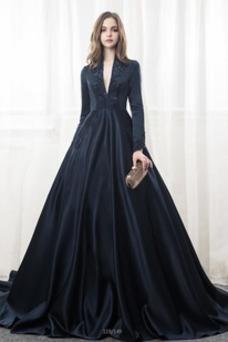 Vestido de novia Drapeado Formal Corpiño Acentuado con Perla Natural