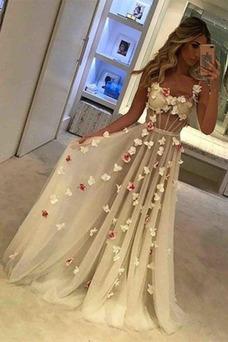 Vestido de fiesta Elegante Flores Escote de Tirantes Espaguetis Espalda Descubierta