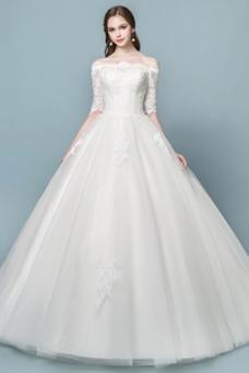 Vestido de novia Elegante Mangas Illusion Falta Capa de encaje Cordón