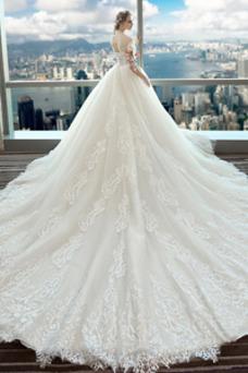 Vestido de novia Encaje Invierno Cordón Formal Triángulo Invertido La mitad de manga