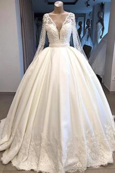 Vestido de novia Sala Formal Baja escote en V Escote en V Cola Barriba