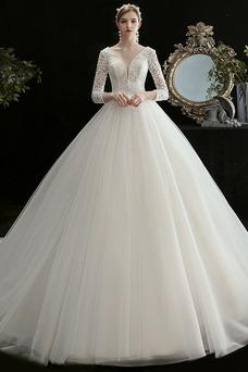 Vestido de novia Baja escote en V Abalorio primavera Cordón Triángulo Invertido