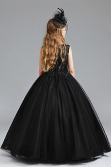 Vestido niña ceremonia Falta Encaje Hasta el Tobillo Corte-A Joya Natural