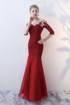 Vestido de noche Corte Sirena Capa de encaje Escote redondo Natural