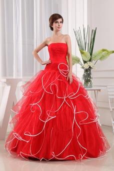 Vestido de fiesta Elegante Corte-A Organza Vasco Escalonado Sin mangas