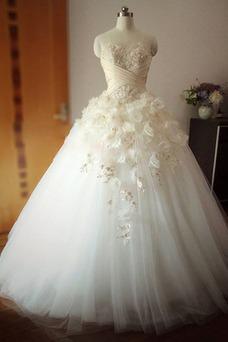 Vestido de novia Bola Escote Corazón Formal tul Apliques primavera