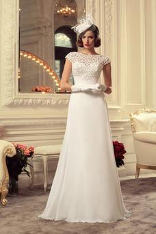 Vestido de novia Barco Otoño Gasa Sala Formal Cordón