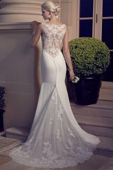 Vestido de novia Encaje Botón Otoño Escote en V Cremallera Sin mangas