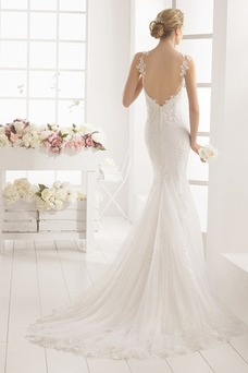 Vestido de novia Apliques Espalda Descubierta Natural Otoño Escote de Tirantes Espaguetis