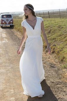 Vestido de novia Encaje Natural Escote en V Lazos Cremallera Manga tapada