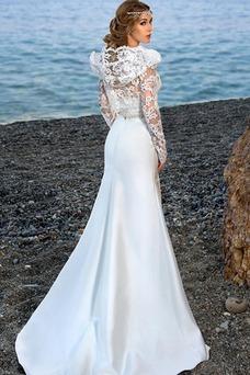 Vestido de novia Elegante Con Chaqueta largo Escote Corazón Playa Pura espalda