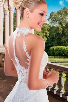 Vestido de novia primavera Cristal tul Iglesia Cola Capilla Natural