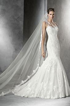 Vestido de novia Corte Sirena Apliques Encaje Otoño Cremallera Joya