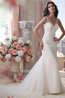Vestido de novia Espalda medio descubierto Otoño Natural Cola Capilla