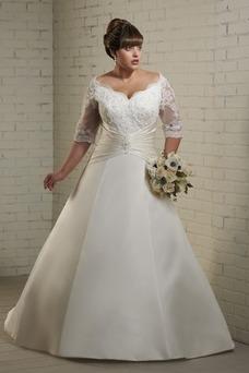 Vestido de novia largo Corte-A Natural Formal Escote con Hombros caídos