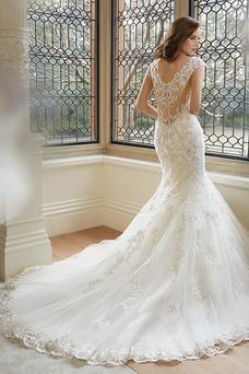 Vestido de novia Corte Sirena Sala Manga corta Escote en V Moderno Apliques