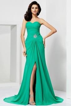Vestido de noche Espalda Descubierta Sin tirantes largo Moderno Corte-A