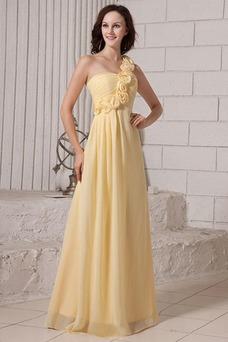 Vestido de dama de honor Otoño Fuera de casa Un sólo hombro Imperio Un tirante con flor