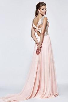 Vestido de fiesta primavera Abalorio Gasa Corte-A Natural Sin mangas