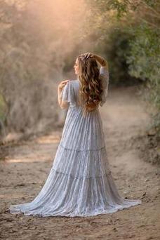 Vestido de novia Capa de encaje Elegante largo Imperio Cintura primavera