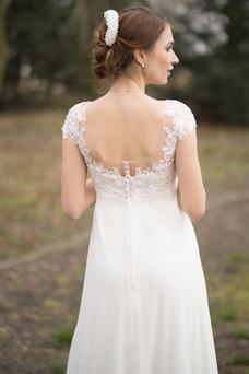 Vestido de novia Playa Espalda Descubierta Gasa Botón Hasta el suelo