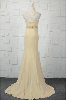 Vestido de noche Cremallera Glamouroso Natural Satén Elástico Escote de Tirantes Espaguetis