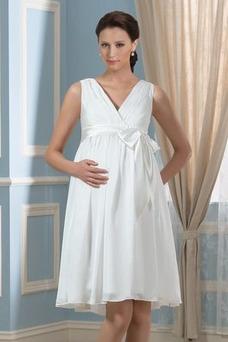 Vestido de novia Arco Acentuado Verano Gasa Drapeado Blusa plisada Hasta la Rodilla