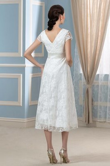 Vestido de novia Elegante Mangas Illusion Tallas grandes Imperio primavera