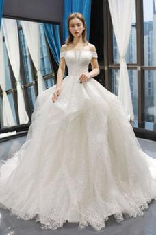 Vestido de novia tul Cola Corte Otoño Cordón Escote con Hombros caídos