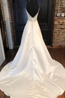 Vestido de novia Natural Baja escote en V Corte-A Sin mangas Verano