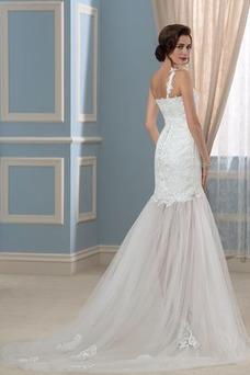 Vestido de novia largo Natural Verano Un sólo hombro Corte Recto Espalda Descubierta