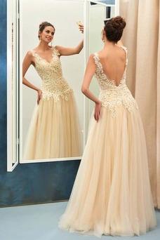 Vestido de noche Elegante Corte-A Natural Hasta el suelo Espalda Descubierta