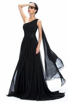 Vestido de noche Gasa Natural Elegante Reloj de Arena Corte-A Dobladillos