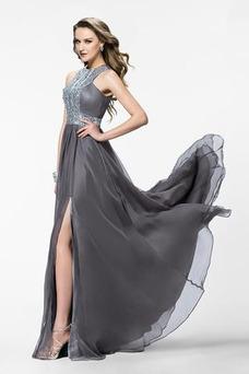 Vestido de fiesta Corpiño Acentuado con Perla Cristal Gasa Joya Corte-A