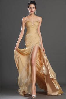 Vestido de fiesta Cola Corte Verano Corpiño Acentuado con Perla Escote redondo