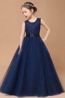 Vestido niña ceremonia Corte-A Falta Joya Formal Arco Acentuado tul