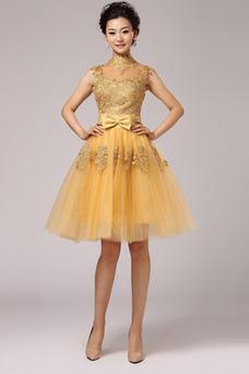 Vestido de fiesta Corte-A Falta Escote con cuello Alto Glamouroso Capa de encaje