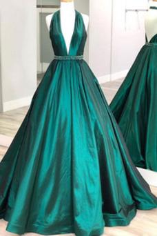 Vestido de fiesta primavera Falta Baja escote en V Corte-A Hasta el suelo